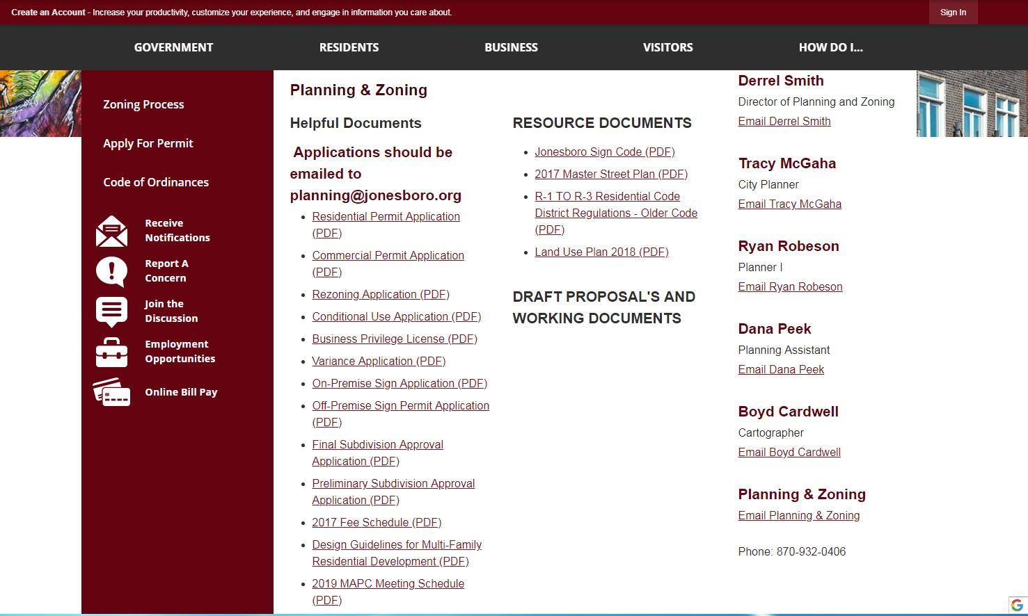 Planning and Zoning Web Page